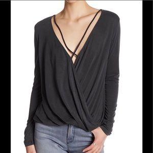 Lush M long sleeve surplice neck blouse charcoal